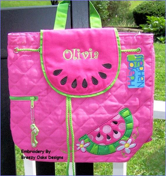 Personalized Stephen Joseph NEWEST Watermelon Backpack