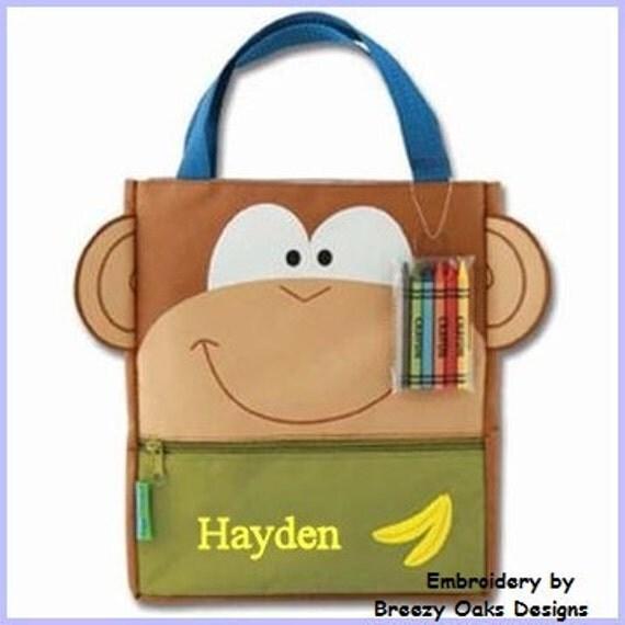 Personalized Monkey Art Totes, Creative Tote, Crayon Bag, Toddler Gift, Art Supplies, Organizer, Travel Sac, Travel Bag, Birthday,