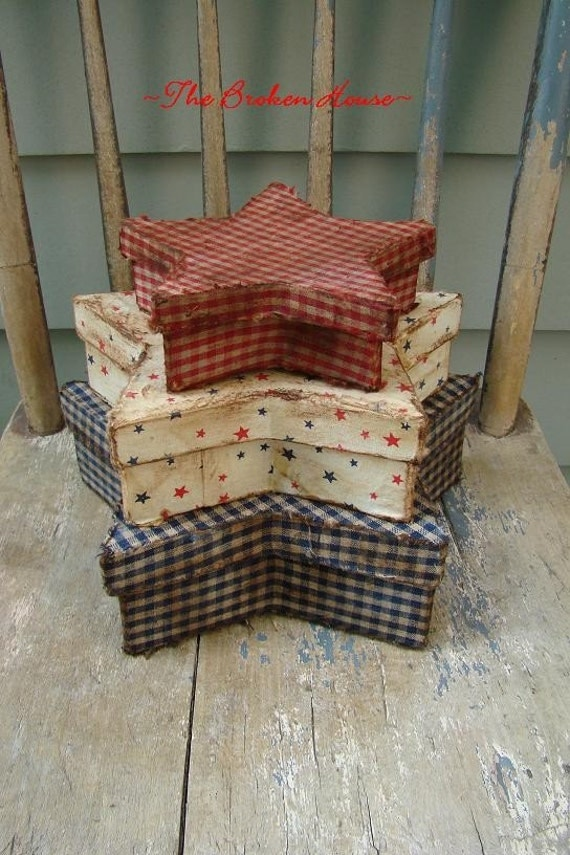 Primitive americana patriotic fabric covered by thebrokenhouse for Fabric covered boxes craft