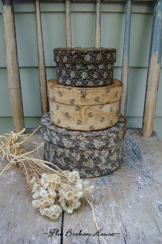 Primitive Fabric Covered Stackable Pantry Boxes with bLaCk, CrEaM, and gRaY