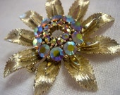 Vintage Lisner Gold AB Rhinestone Sunflower Brooch - daisyfairbanks