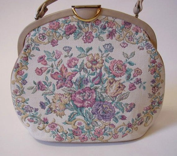 Vintage 50s Tan Leather and Floral Tapestry Bag