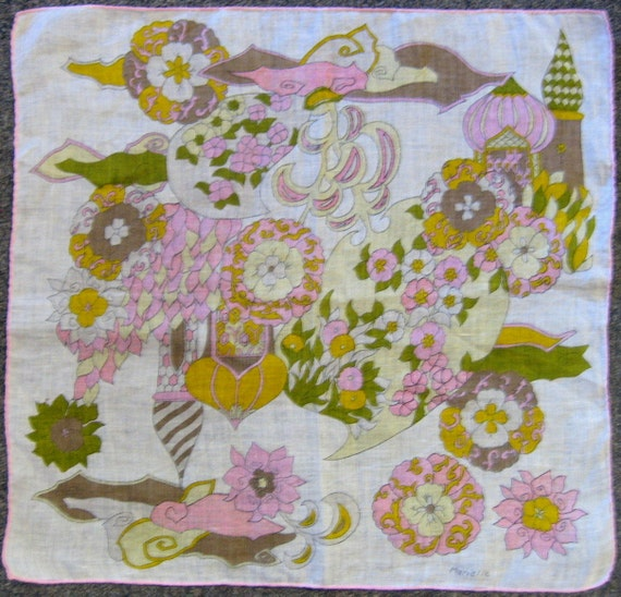 Vintage 1960s Fairy Tale Pink Paisley Medieval Castle Handkerchief - FREE Shipping