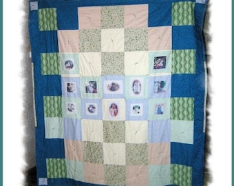 Handmade Customized Imprinted Photo Montage Sofa-Twin Size Quilt