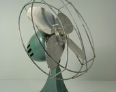 Vintage Industrial Small Dominion Electric Fan in Green
