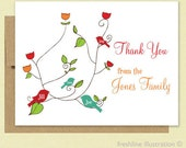 Thank You Card - Thank You Card Set - Personalized Family Tree Bird Cards - Set of 10