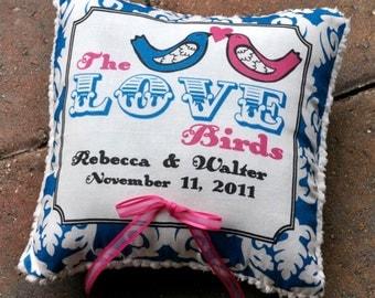 Ring Bearer Pillow - The Love Birds Pillow - Customize to your Wedding