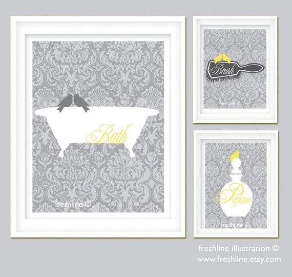 Bathroom Art Grey: Yellow And Gray Bathroom Art Set Bird On Bathtub By Freshline
