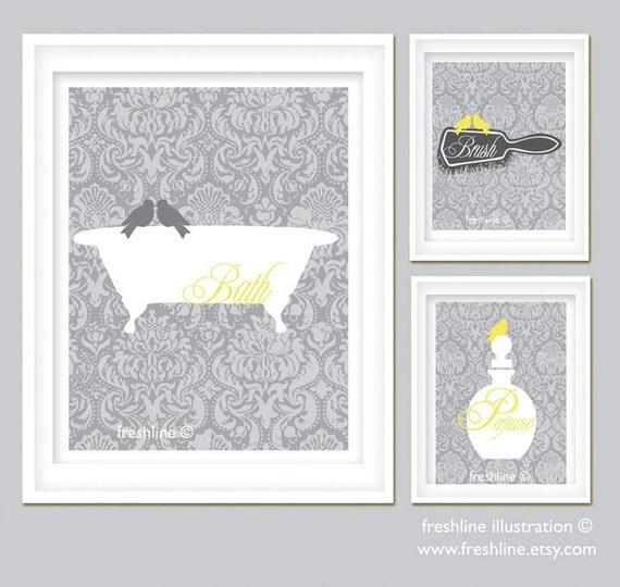 Yellow And Gray Bathroom Art Set Bird On Bathtub By Freshline