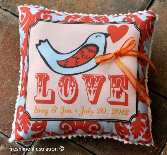 Ring Bearer Pillow - Love Bird with Heart Pillow - Customize to your Wedding