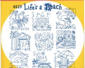 Lifes a Beach Towel Aunt Martha's Embroidery Transfer Designs