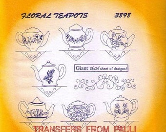 Floral Teapots 3898 Aunt Martha's Hand Embroidery Transfer pattern