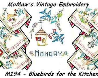 Vintage Bluebird Tea Towel Embroidery pattern Hot Iron transfer