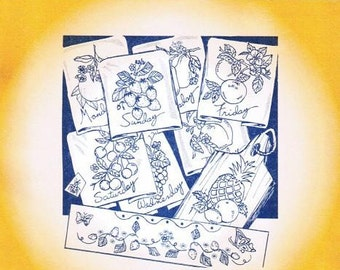 Fanciful Fruit #3749 Aunt Martha's Embroidery Transfer Designs