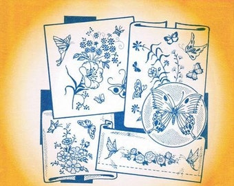 Flowers & Butterflies #3763 Aunt Martha's Embroidery Transfer Designs