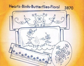 Hearts birds butterfly floral Aunt Martha's Embroidery Transfer Designs Pattern