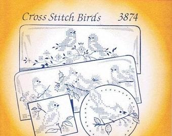 Cross stitch birds Aunt Martha's Embroidery Transfer Designs Pattern