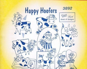 Happy Cows Aunt Martha's Embroidery Transfer Designs Pattern