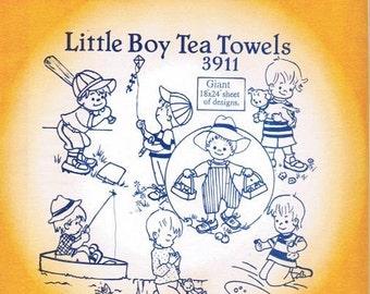 Little Boy Tea Towels Aunt Martha's Embroidery Transfer Designs Pattern