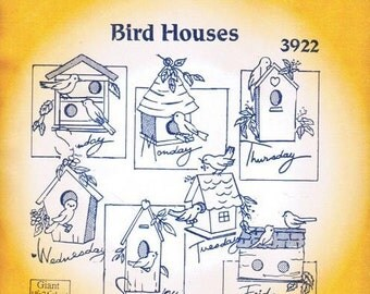 Bird Houses #3922 Aunt Martha's Embroidery Transfer Designs