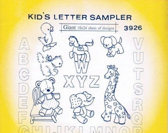 Kids Letter Sampler #3926 Aunt Martha's Embroidery Transfer Designs