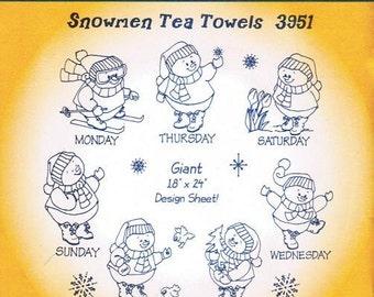 Snowmen DOW Aunt Martha's Embroidery Transfer Designs Pattern