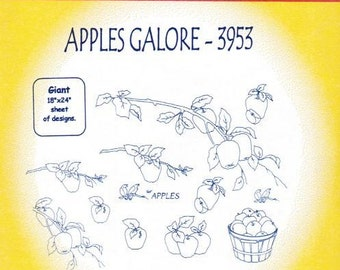 Apples Galore Aunt Martha's Embroidery Transfer Designs Pattern