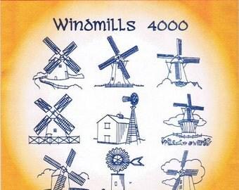 Windmills Aunt Martha's Embroidery Transfer Designs Pattern