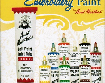 Aunt Martha Ballpoint Starter Embroidery Paint 8 pack for Transfer patterns