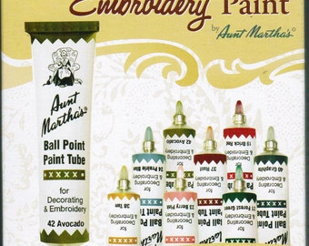 Aunt Martha Ballpoint Country Colors Embroidery Paint 8 pack for Transfer patterns