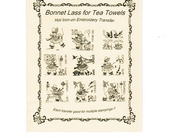 M120 Vintage Little Suzan Tea Towel Embroidery pattern Hot Iron transfer
