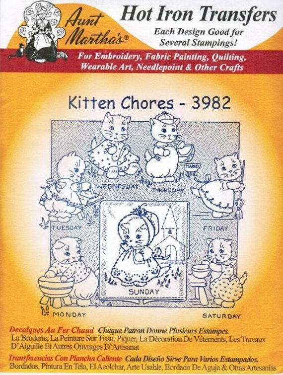 Kitten Chores#3982 Aunt Martha's Embroidery Transfer Designs Pattern