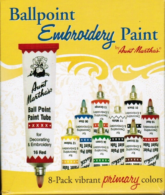 Aunt Martha Ballpoint Starter Embroidery Paint 8 Pack For