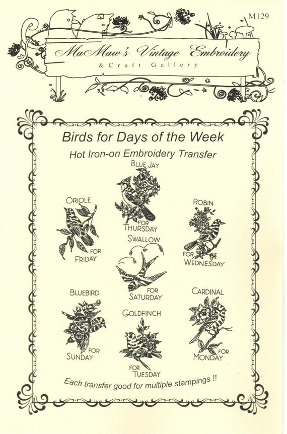 M129 Vintage Birds Days of the Week Towel Embroidery heat transfer pattern.