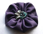 Large silk flower brooch in purple and aqua -  satin flower pin with ruffles