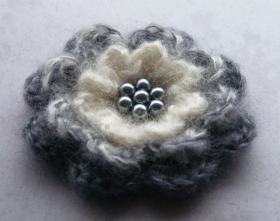 Crochet flower brooch in smokey grey, ivory and charcoal - fall accessory