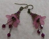 Hand made Flower & Brass Filigree Earrings In Pink