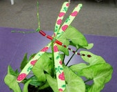 Hand Made Dragonfly Pick in Apple Green and Red