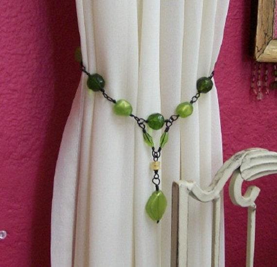 Items Similar To Hand Made Curtain Tiebacks Green Hookless
