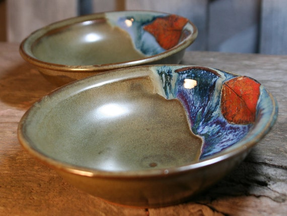 Pair of Pasta Bowls - Birch Leaves