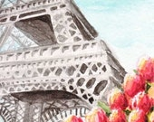 Spring at the Eiffel Tower Print Tiny Art by Rebecca Salcedo EBSQ