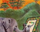 ACEO impression minuscule Animal Art la peinture Elephant Rebecca Salcedo EBSQ FFAW