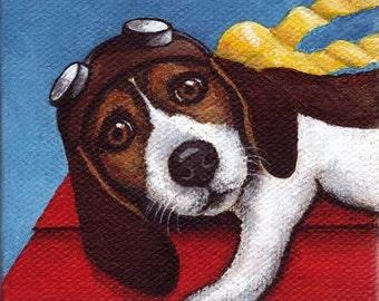 3x3 Giclee Print Tiny Art Beagle Flying Ace In Training by Rebecca Salcedo Dog Pilot A4C