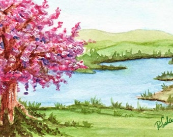 ACEO Spring Print Blossom by the lake Tiny Art by Rebecca Salcedo