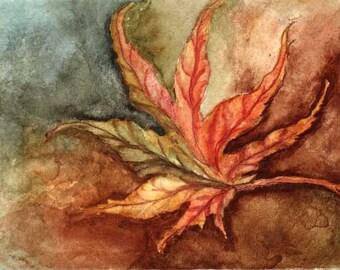 ACEO Fine Art Print Japanese Leaf Maple RSalcedo Ebsq Ffaw rust