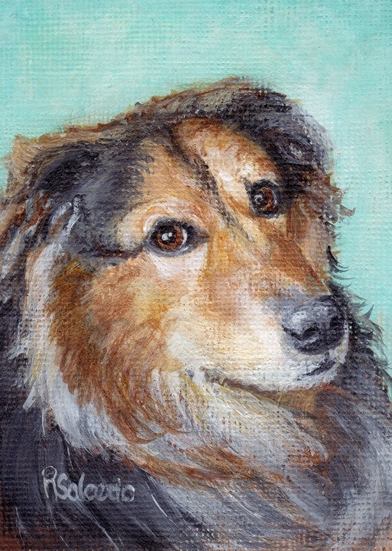 ACEO Print Sweet Collie Tiny Art Dog Print by Rebecca Salcedo A4C Art For Critters