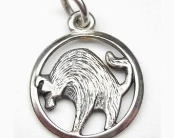 Taurus zodiac pendant in sterling silver