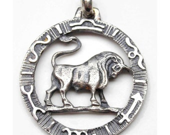 Taurus zodiac pendant in antiqued silver