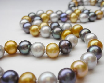 """Metallic color pearls necklace with sterling silver clasp - 17.5"""" inches long"""
