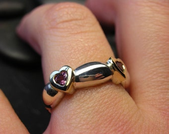 SALE - 50% off the original price - Gold and sterling silver with grape garnet heart - Size 6 1/4